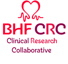 Graphic of a heart above the words BHF CRC Clinical Research Collaborative